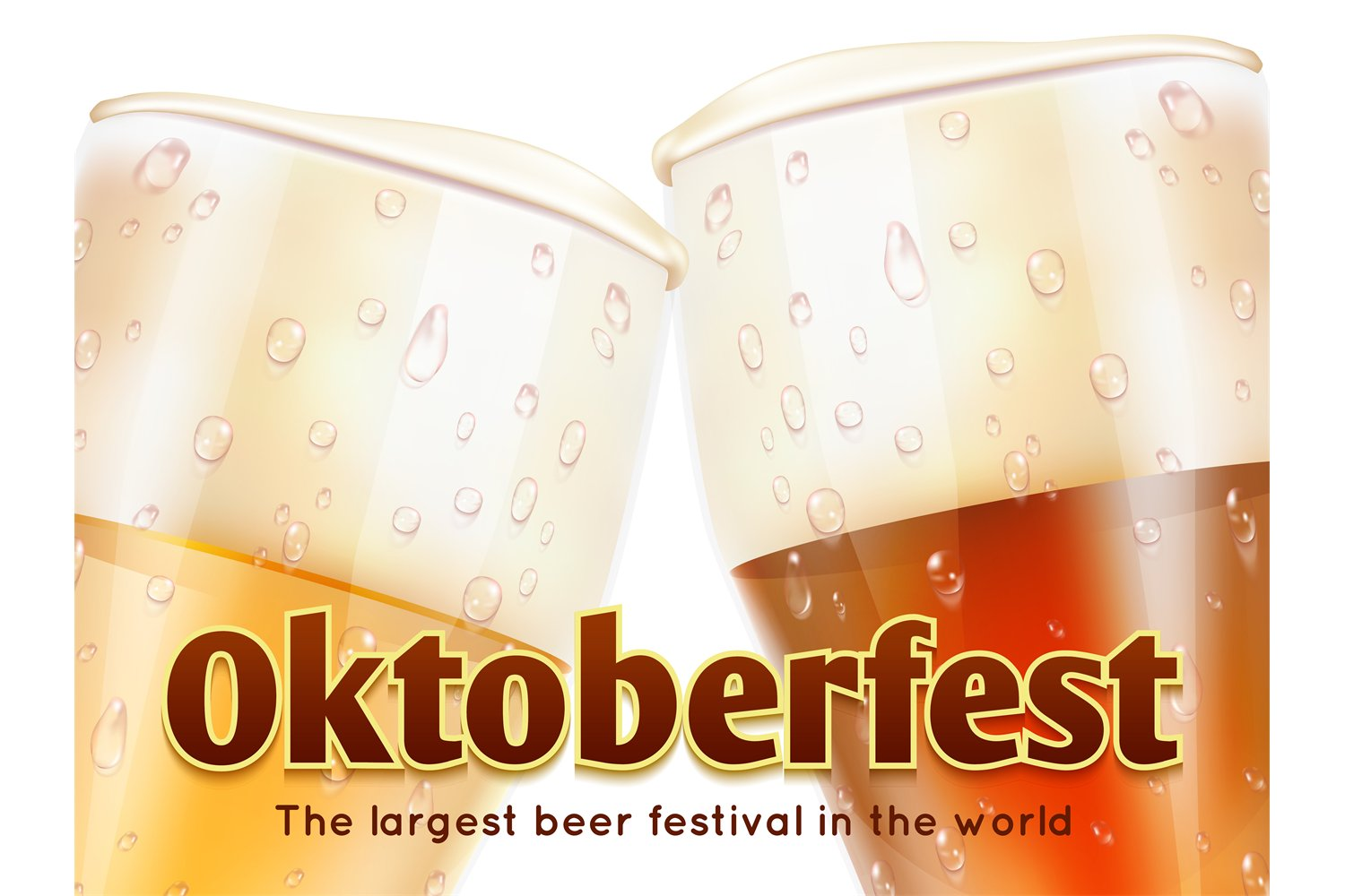 Download Oktoberfest Banner With Realistic Glasses Of Beer Isolated O 928195 Illustrations Design Bundles