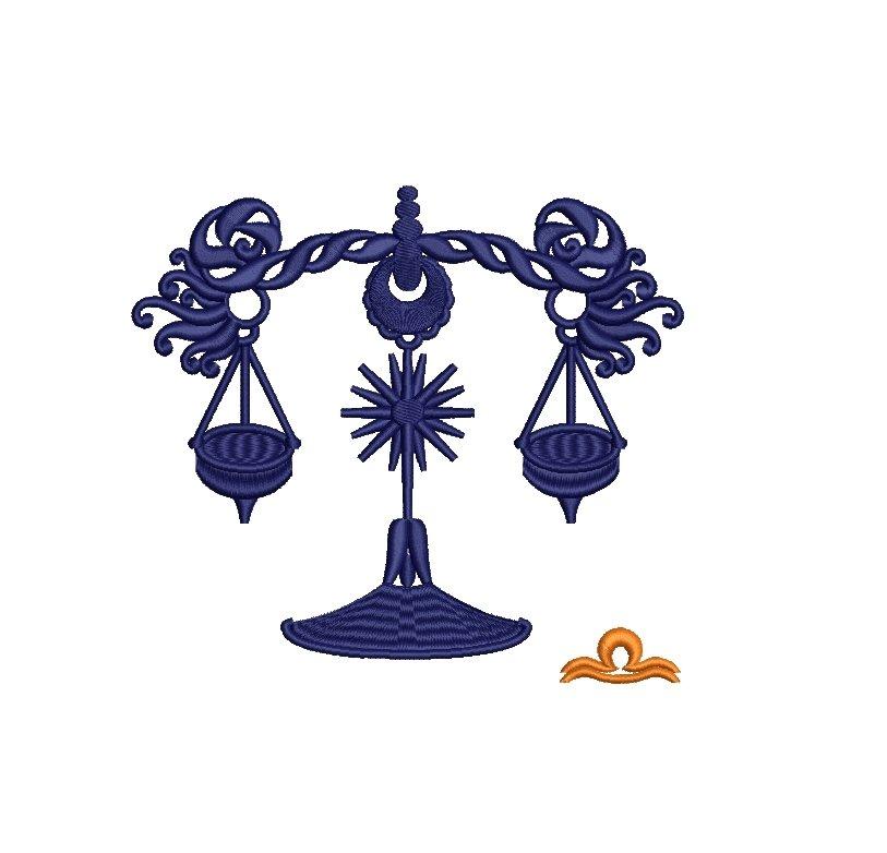 Libra Zodiac Sign - machine embroidery design, satin s example image 7