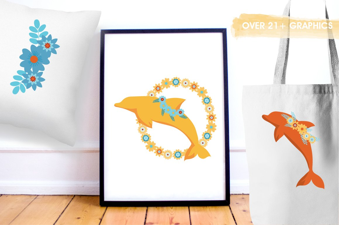 Floral Dolphins graphics and illustrations example image 5