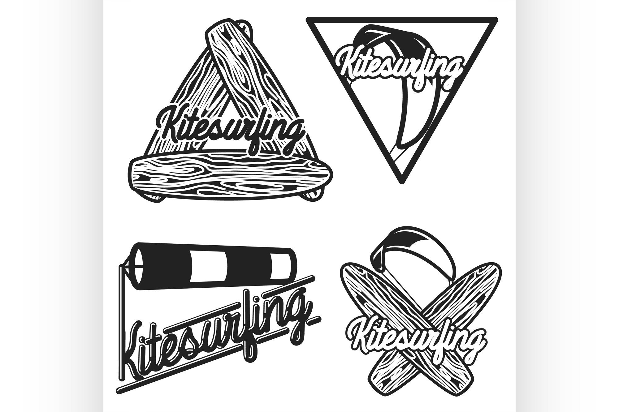 Color vintage kitesurfing emblems example image 1