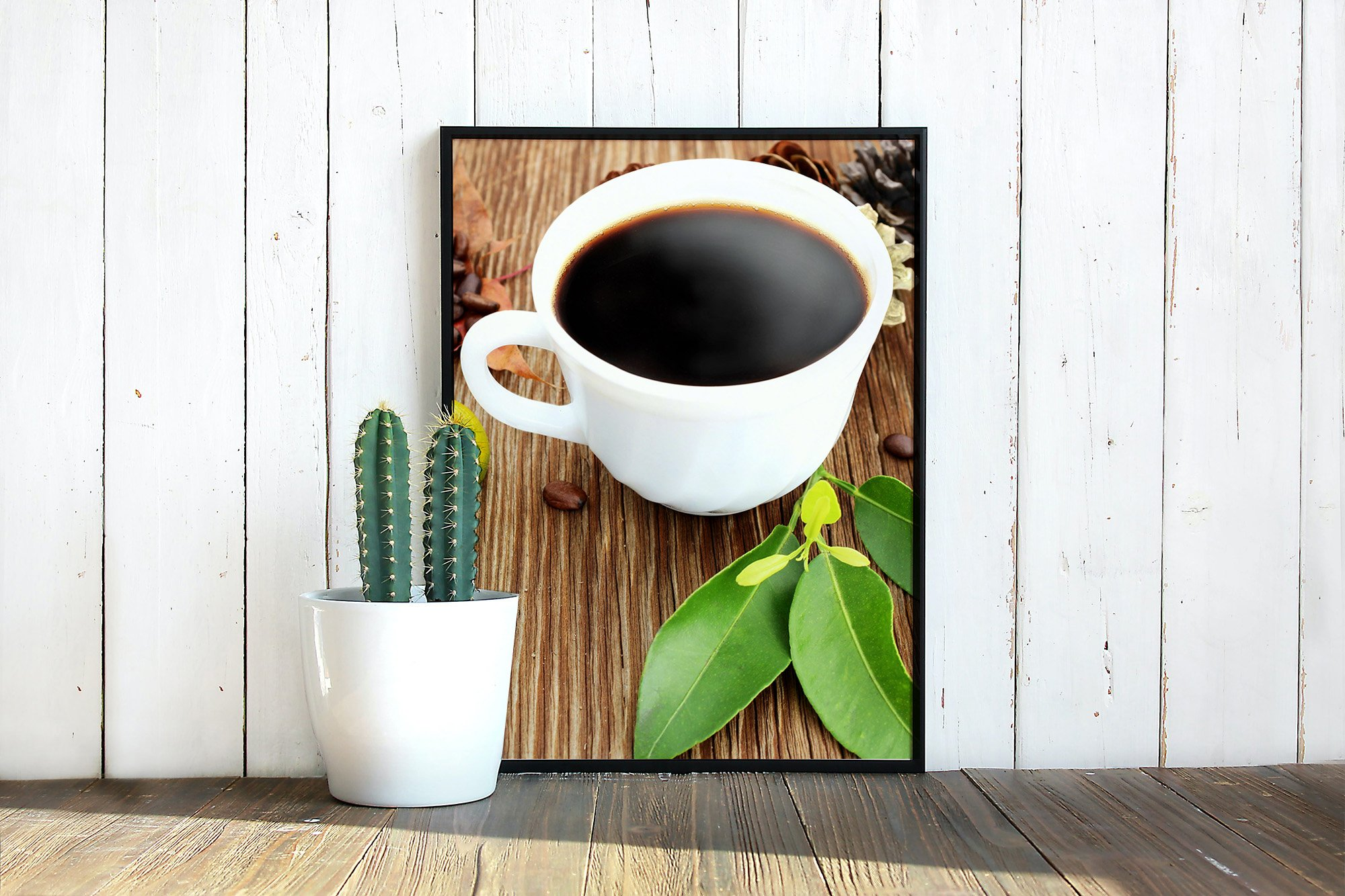 Cup of coffee with coffee grains on old wooden background example image 2