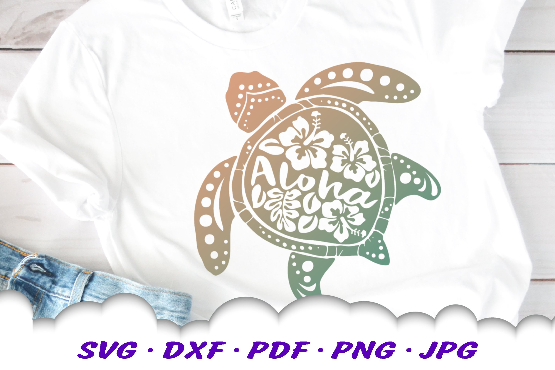 Aloha Hibiscus Sea Turtle SVG DXF Cut Files example image 1