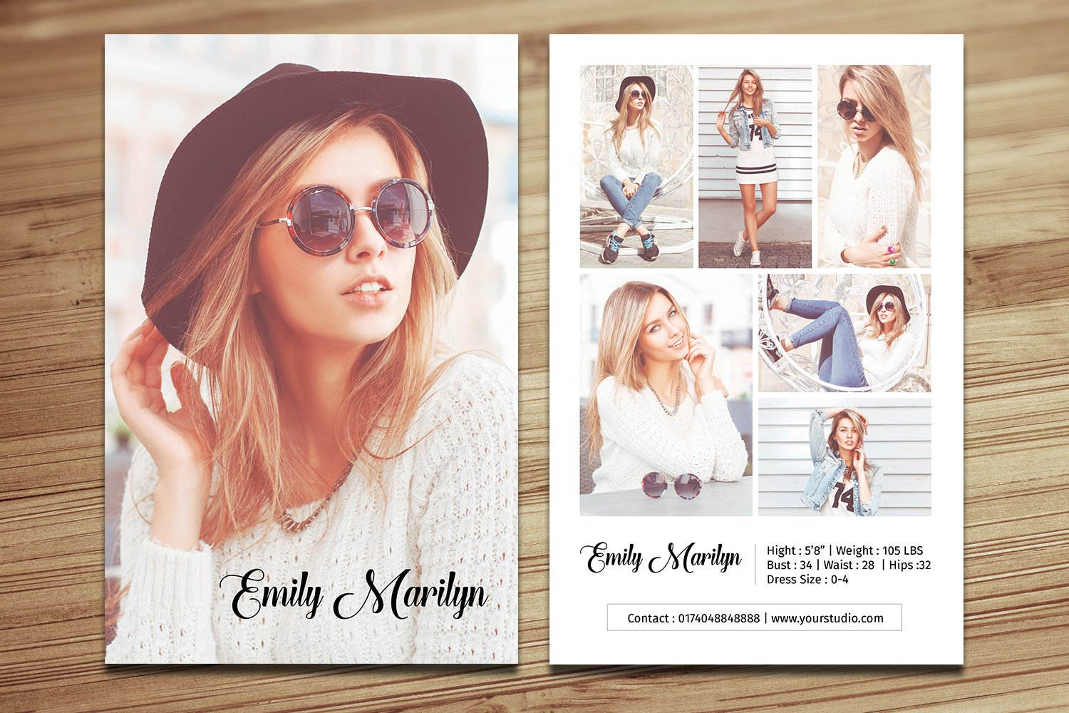 Modeling Comp Card Template, Ms Word & Photoshop Template ...