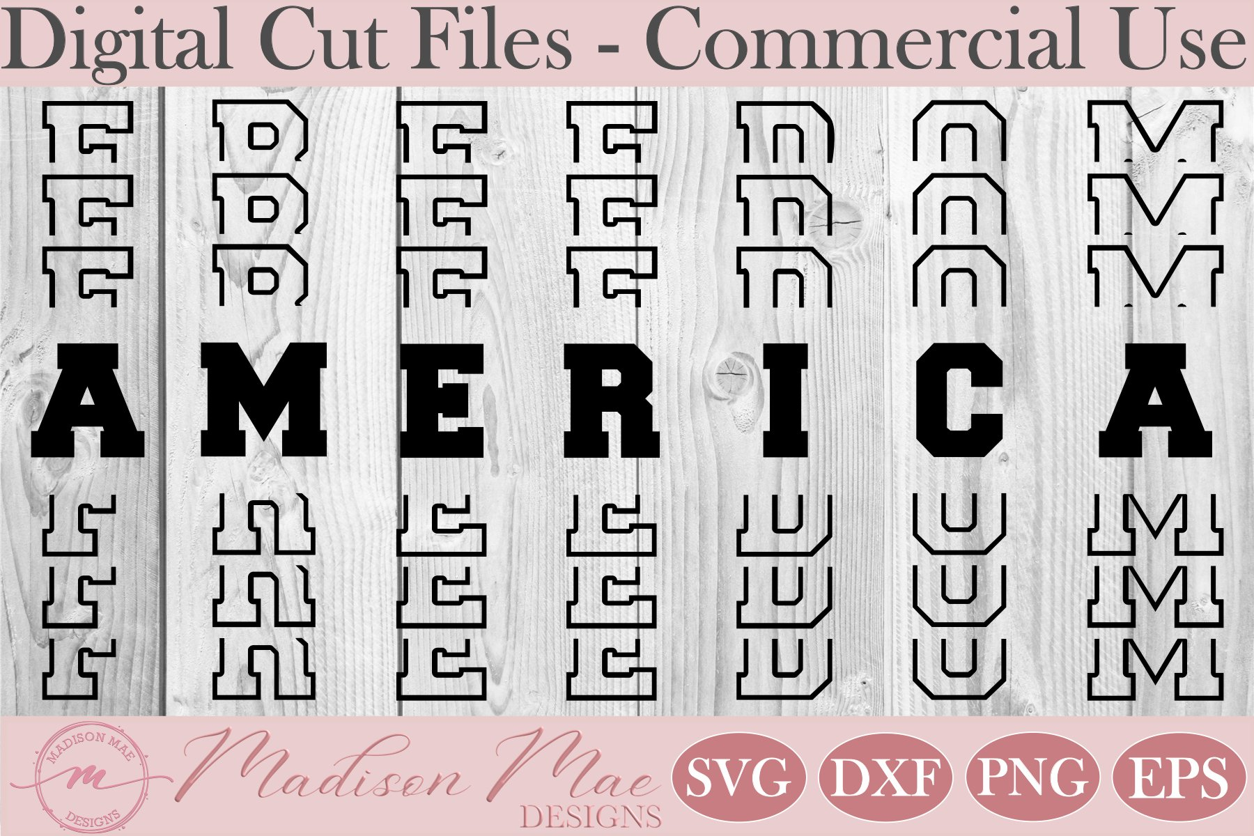 Fourth Of July SVG, America Freedom Stacked Words example image 2