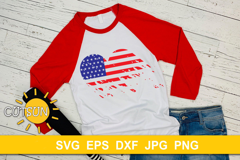 USA Flag distressed heart cut file example image 2