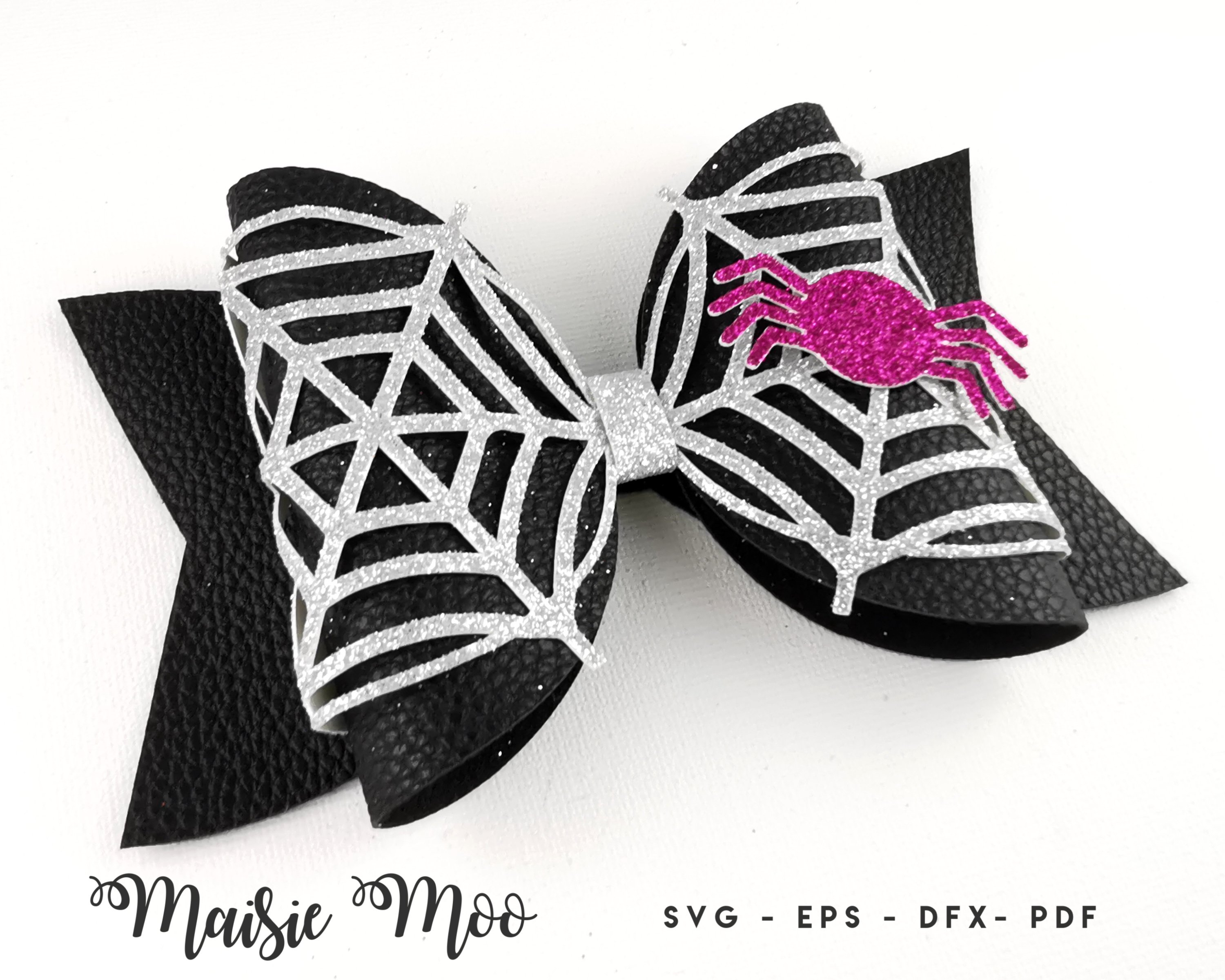 Spiderweb Bow Template SVG, Lace Bow SVG, Felt Bow PDF, example image 3