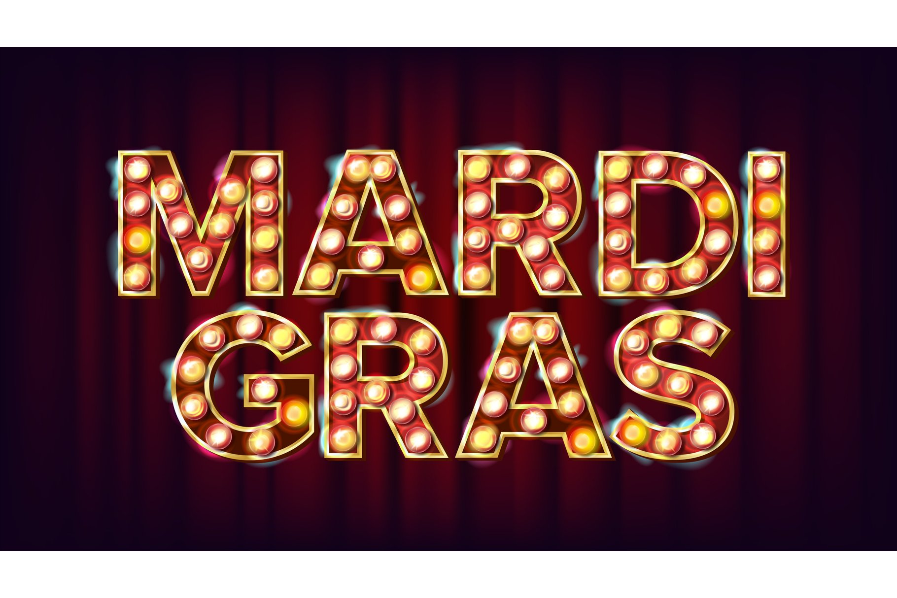 Mardi Gras Background Vector. Carnival Vintage Style example image 1