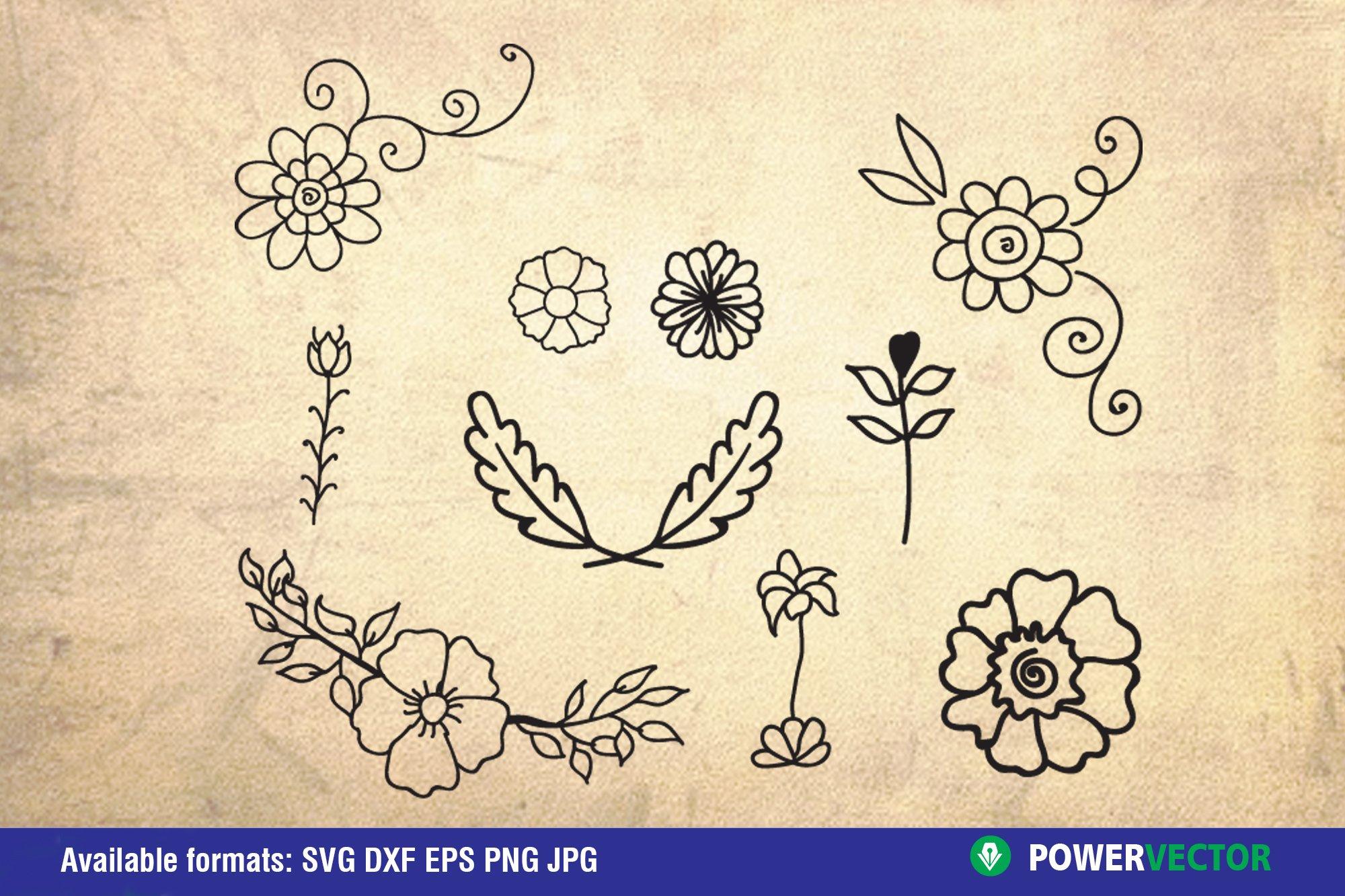 Flowers and Laurel Wreaths SVG Bundle example image 7