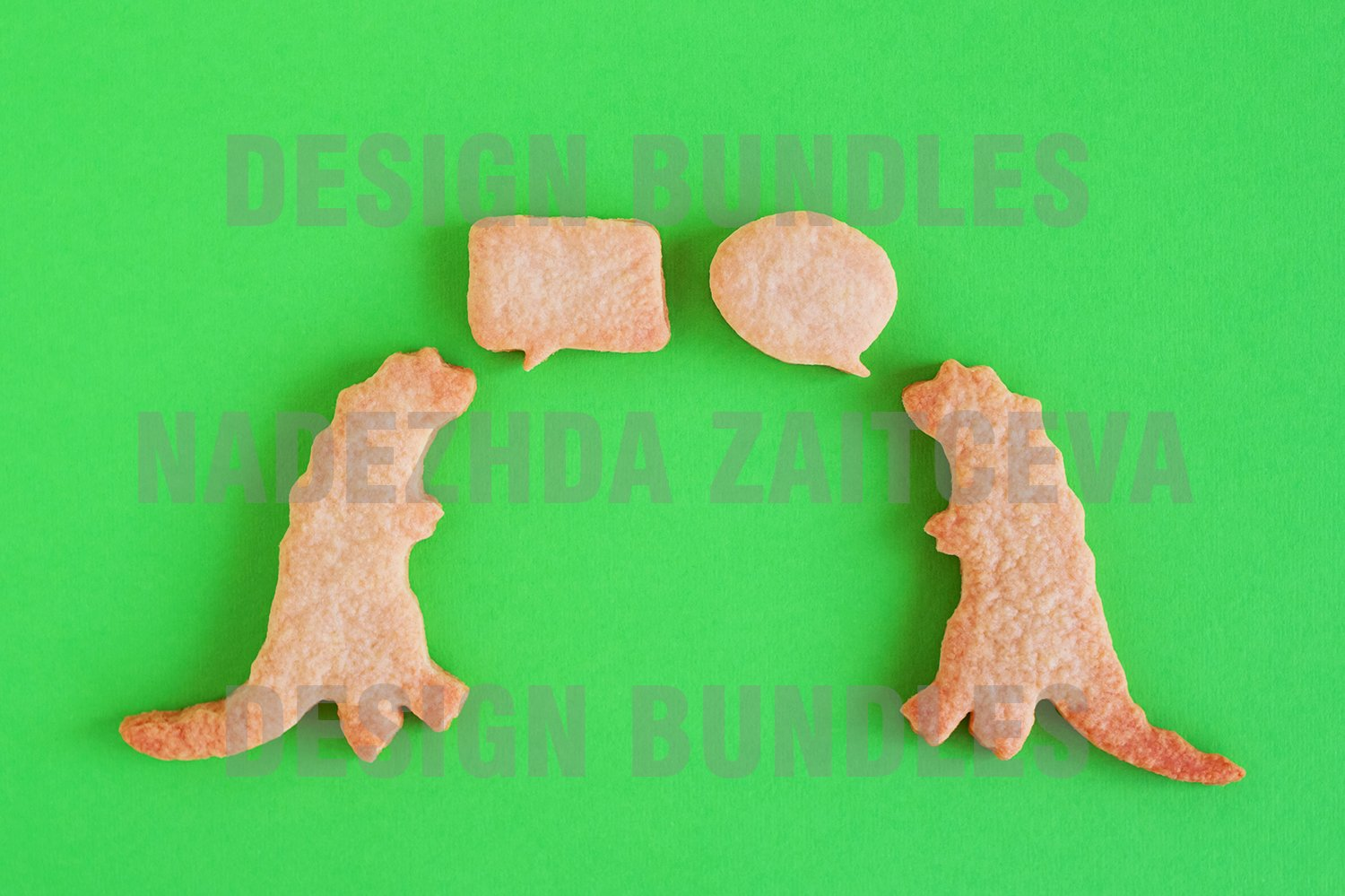 Sweet shortbread with white glaze on green background example image 1