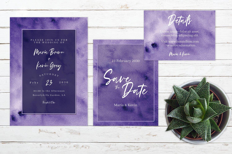Abstract Deep Purple Watercolor Wedding Invitation Set example image 3