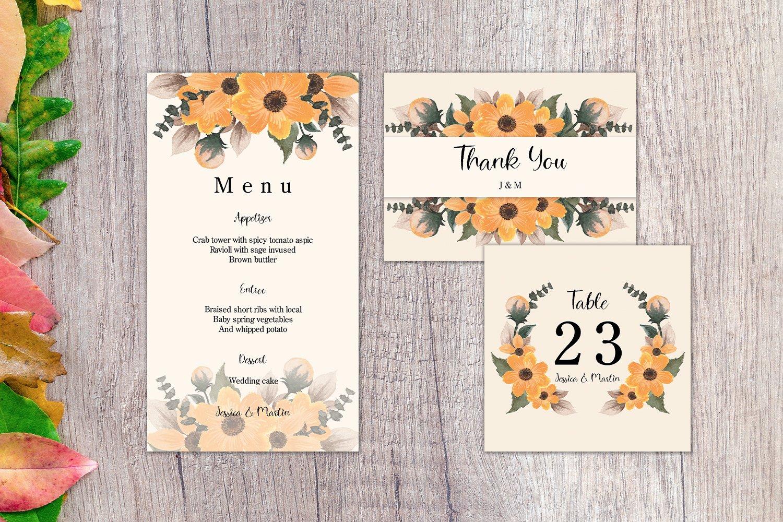 Autumn Floral Wedding Invitation Set example image 2