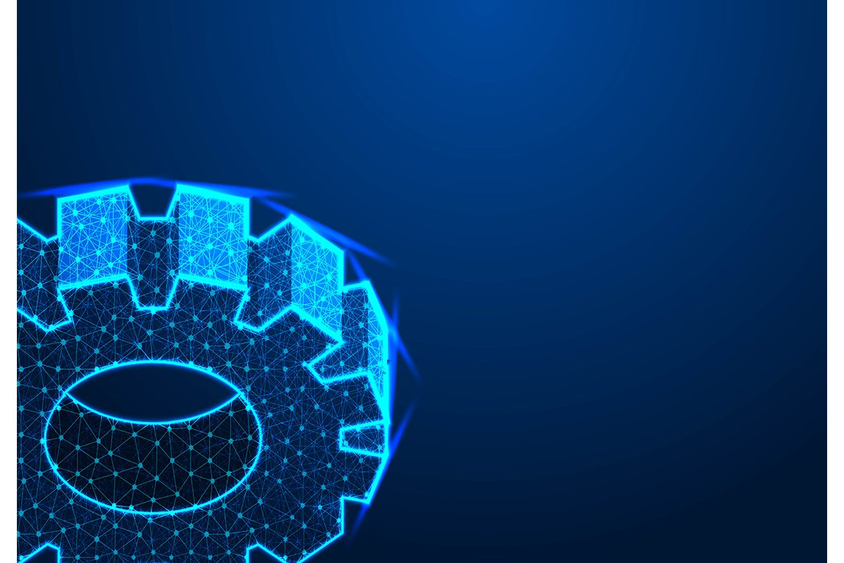 Abstract Technology Gear Background. Isometric Gear Wheels. example image 1