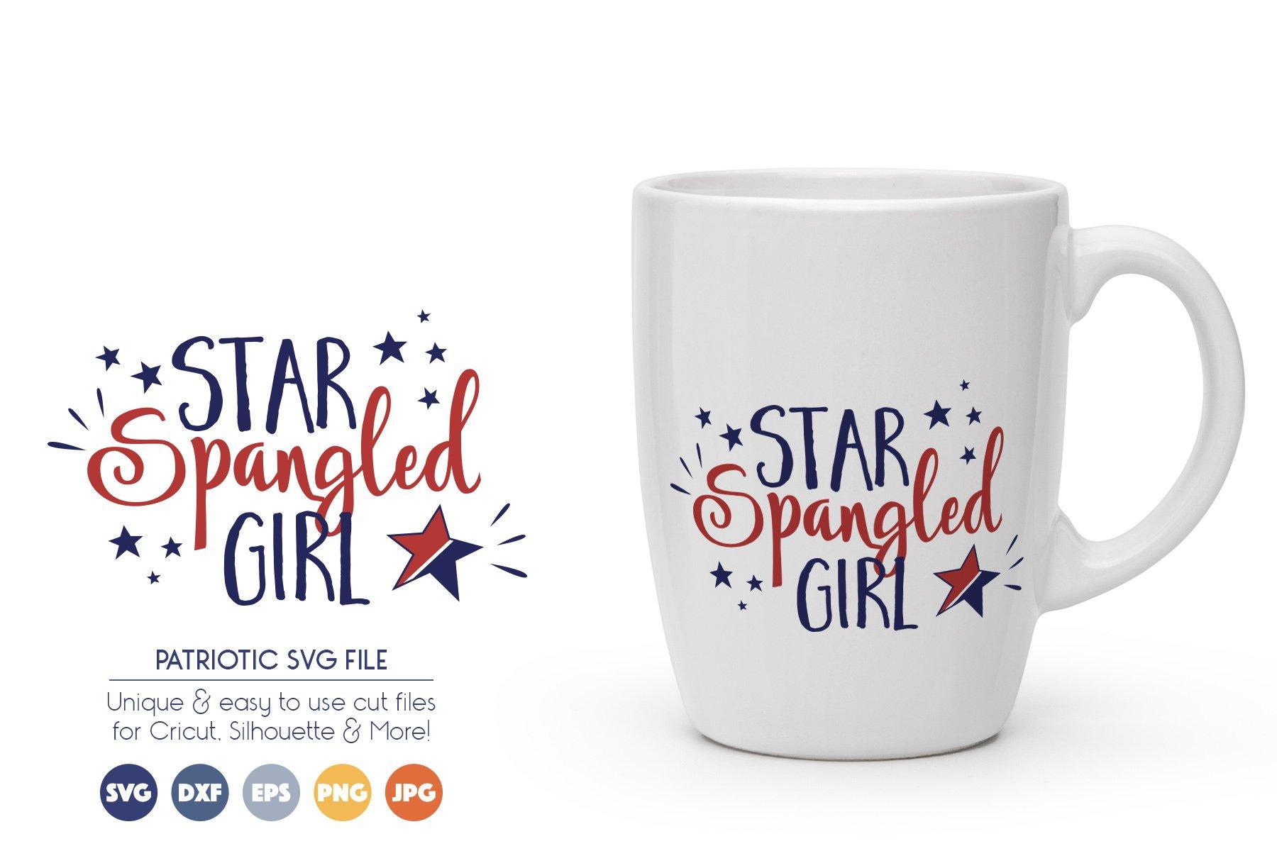 Patriotic SVG Cut Files - Star Spangled Girl example image 1