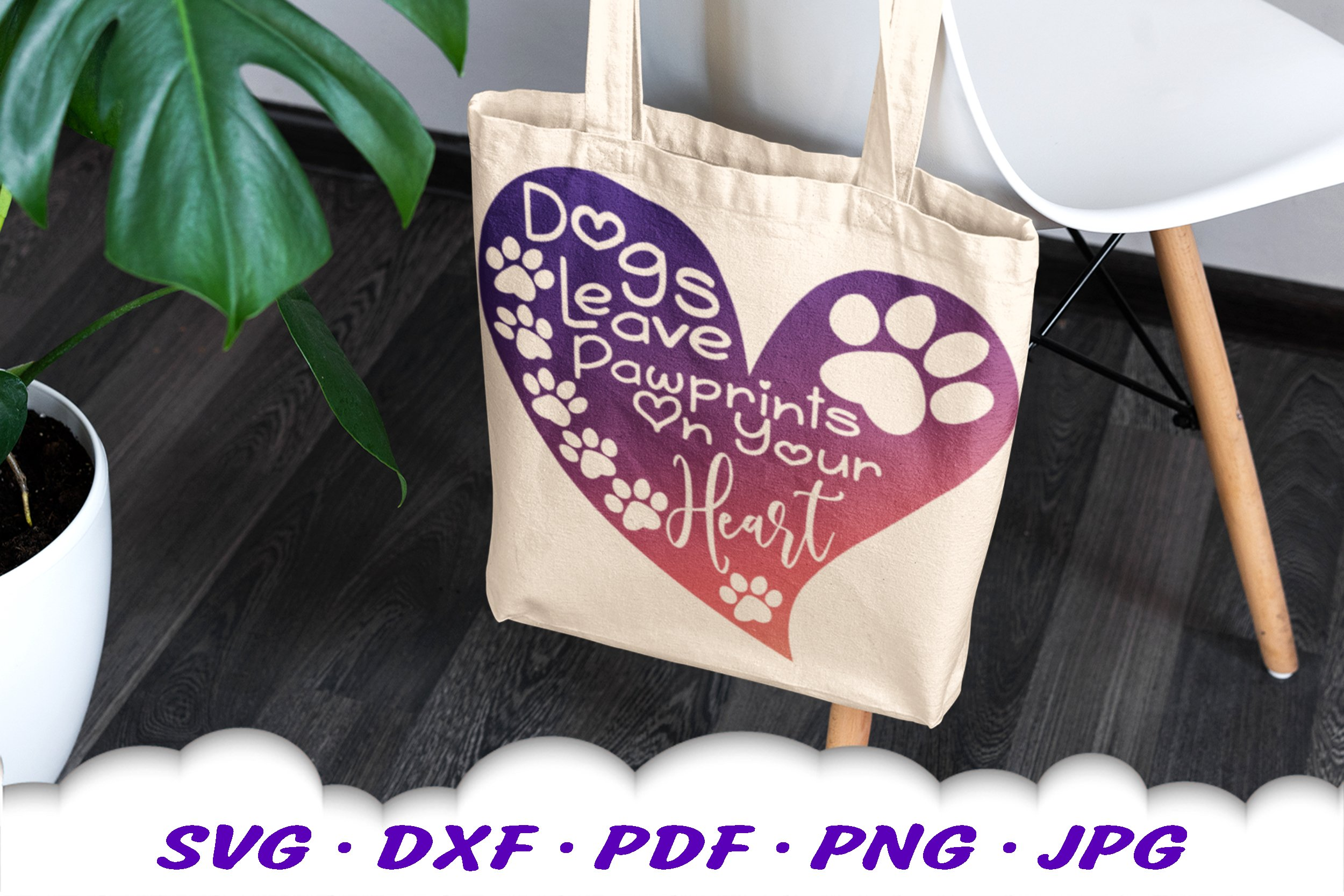 Dog Mom Paw Print Quote Heart SVG DXF Cut Files example image 7