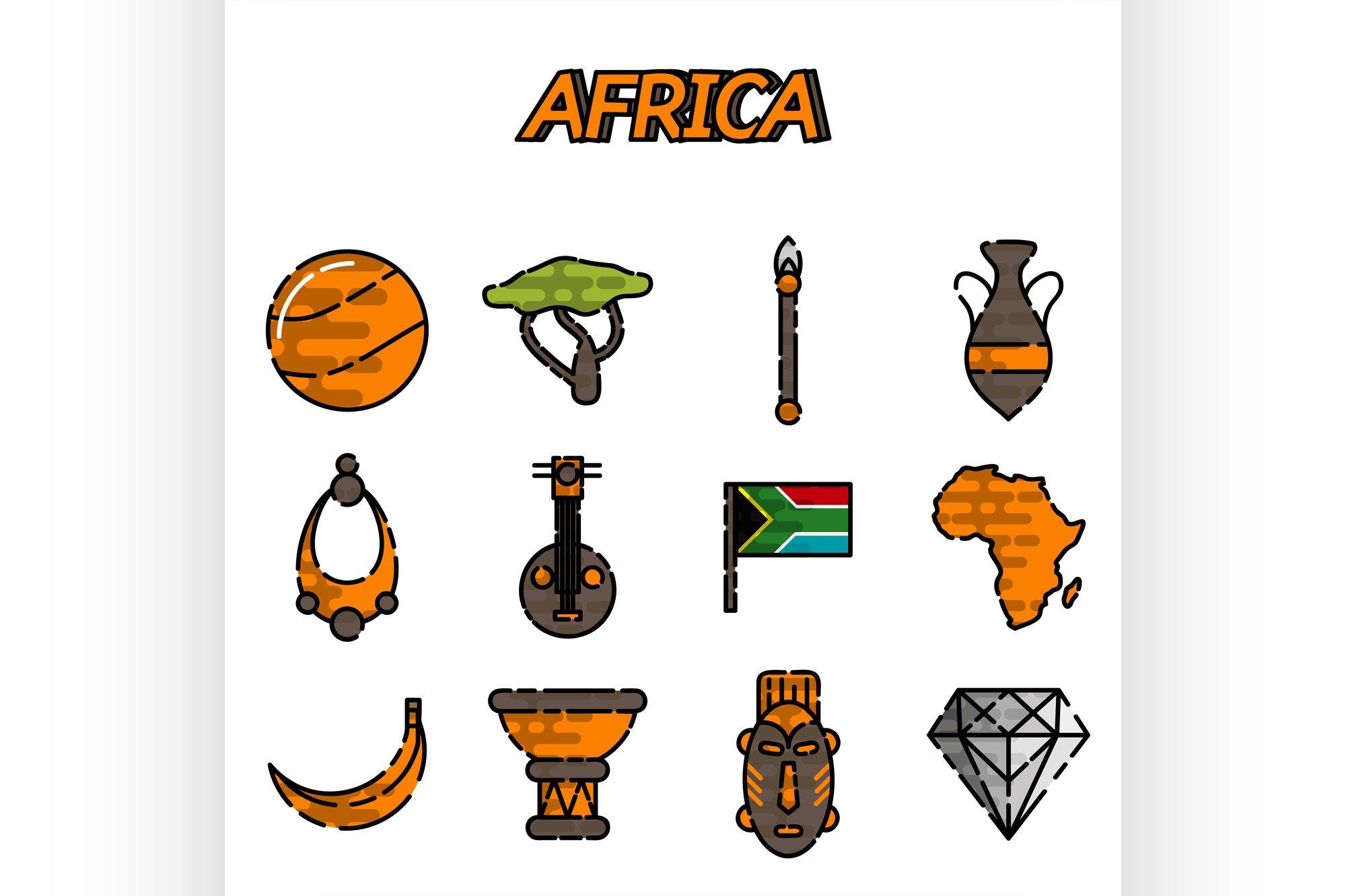 Africa flat icons set example image 1