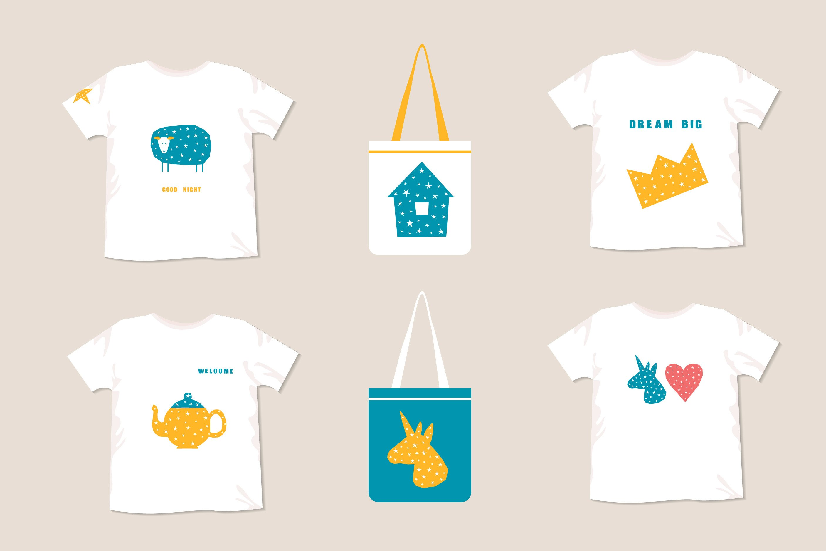T shirt prints, childish collection. Digital patterns. example image 2