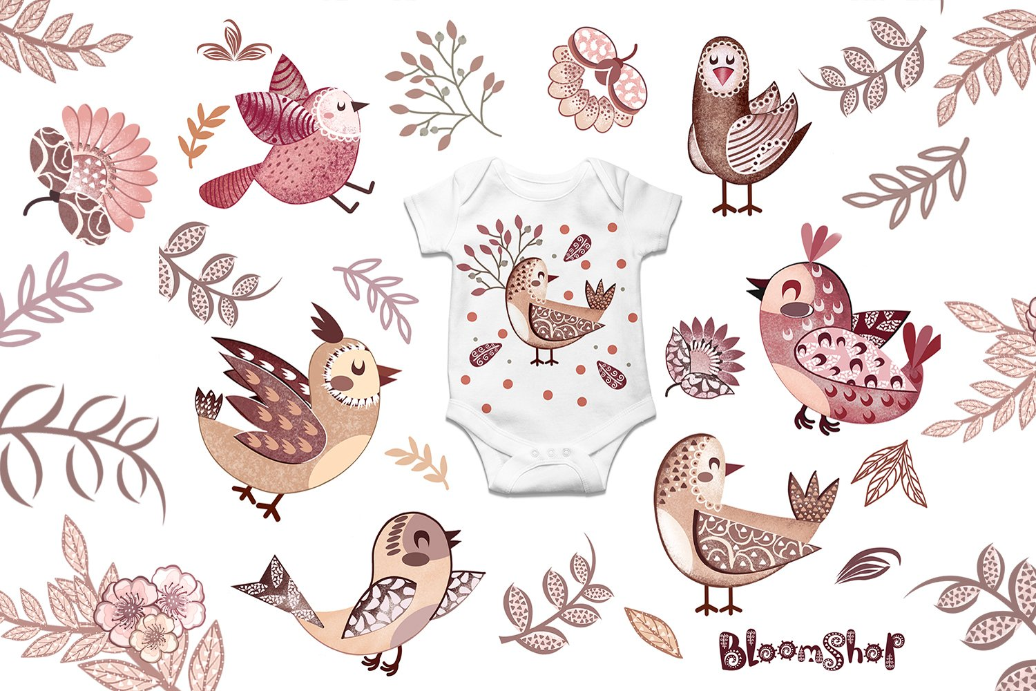 Cute birds with flowers clipart, Pink birds, burgundy flower example image 3