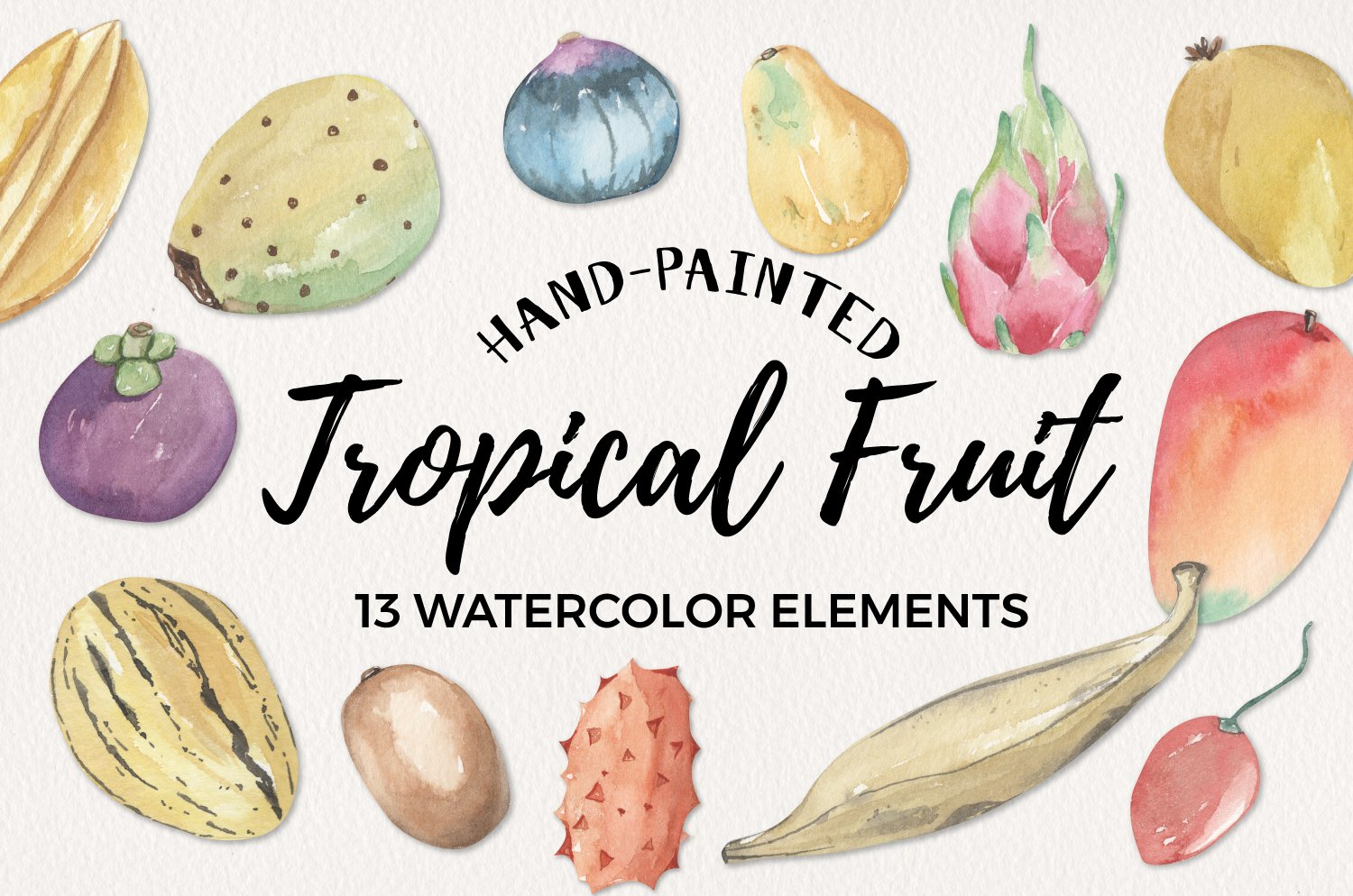 Tropical Exotic Fruit Watercolor 13 Elements Food example image 1