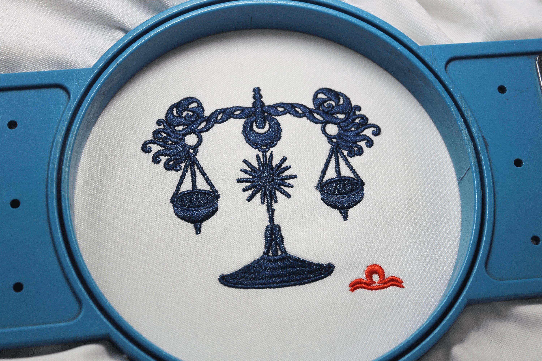 Libra Zodiac Sign - machine embroidery design, satin s example image 6
