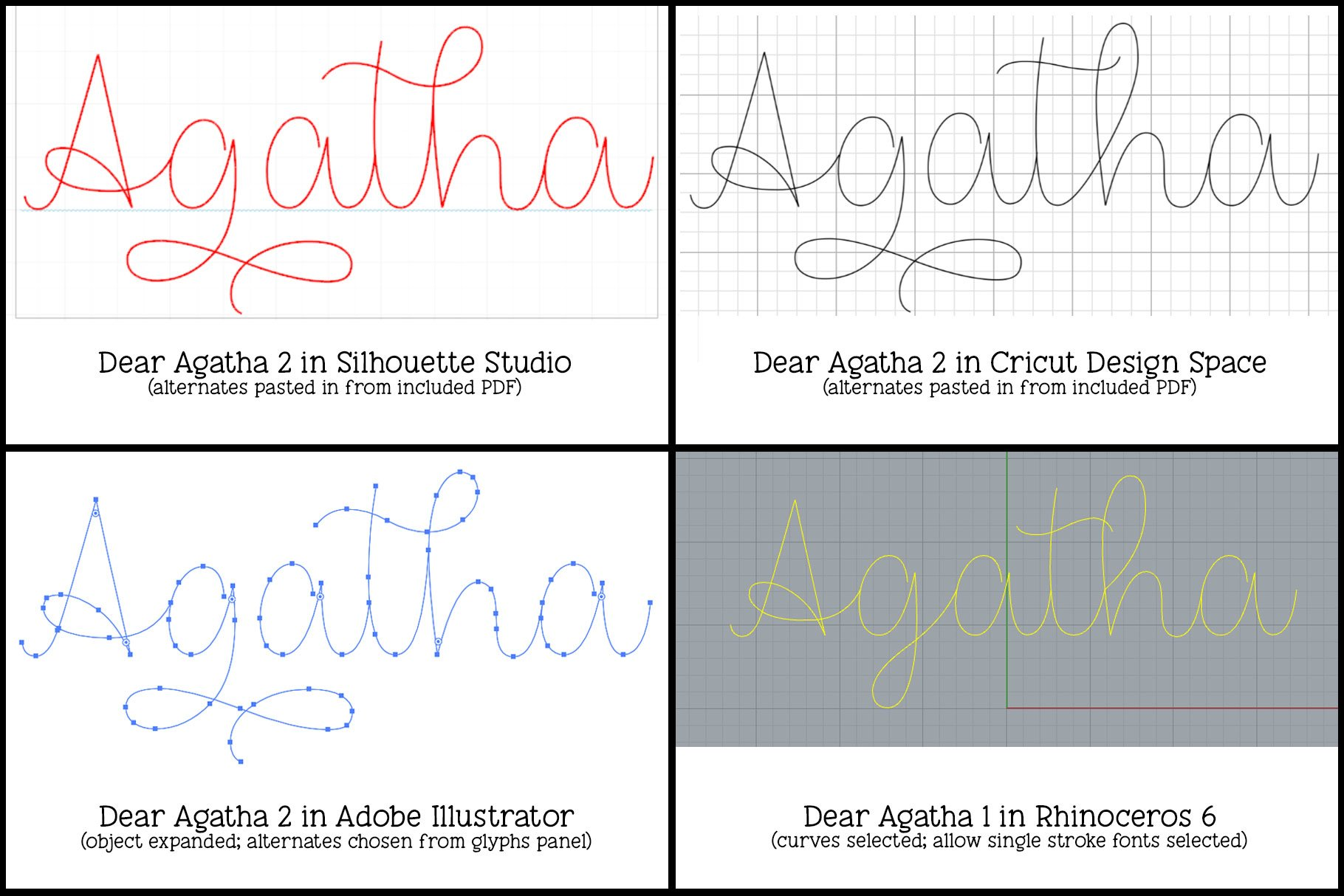 Dear Agatha - a single-line hairline pen & quill font duo! example image 3