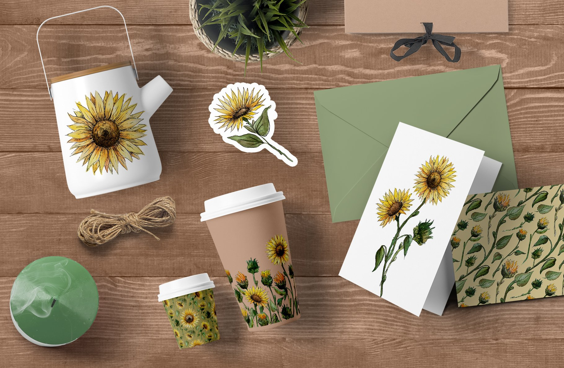 Watercolor Sunflower Clipart Collection example image 12