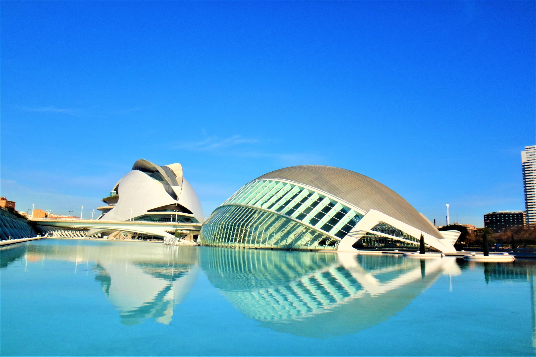 Futuristic city of Valencia in Spain and local citrus fruit example image 1