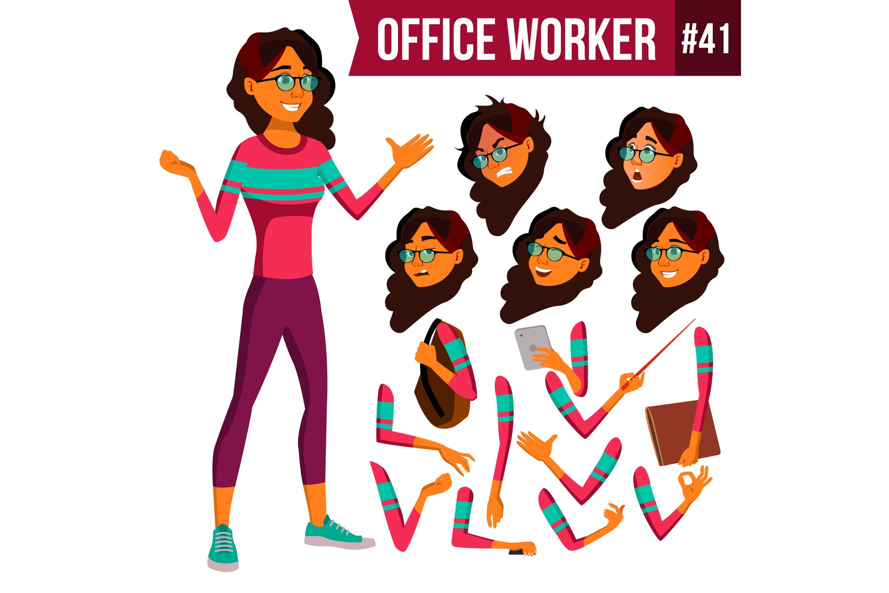 Office Worker Vector. Arab example image 1