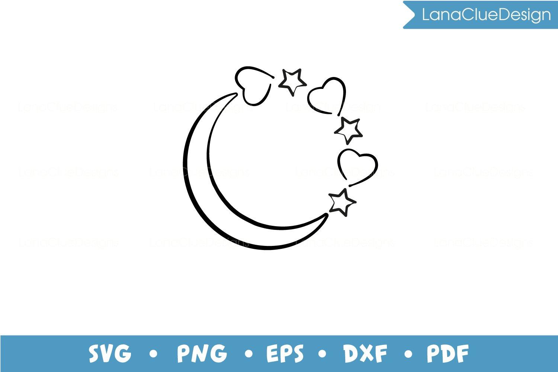 5 Star Circle Frames SVG Bundle, Half Moon with Hearts example image 2