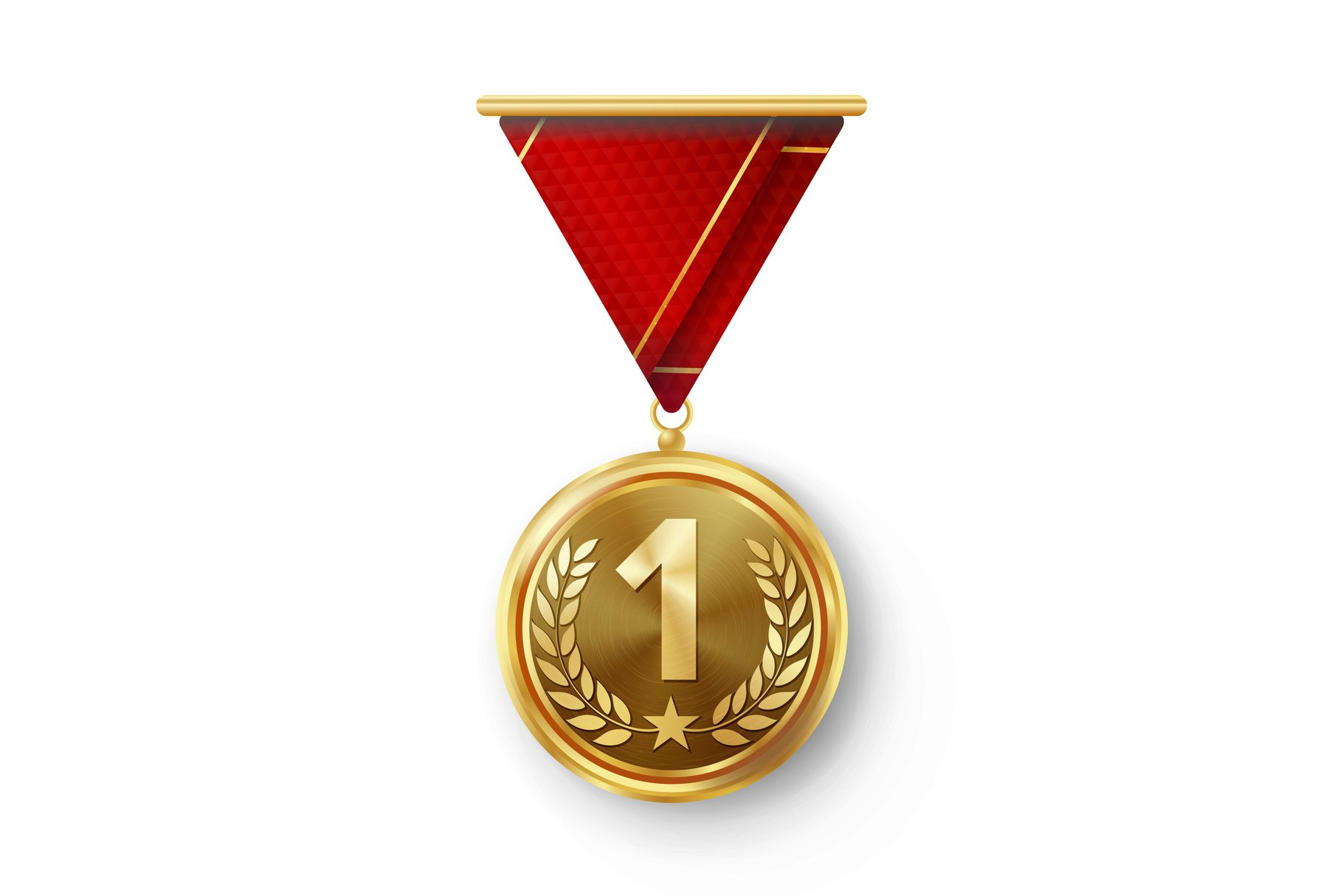 Gold Medal Vector. Metal Realistic First Placement example image 1