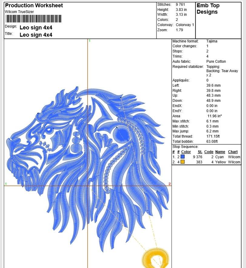 Leo Zodiac Sign - machine embroidery design, satin stitch example image 2