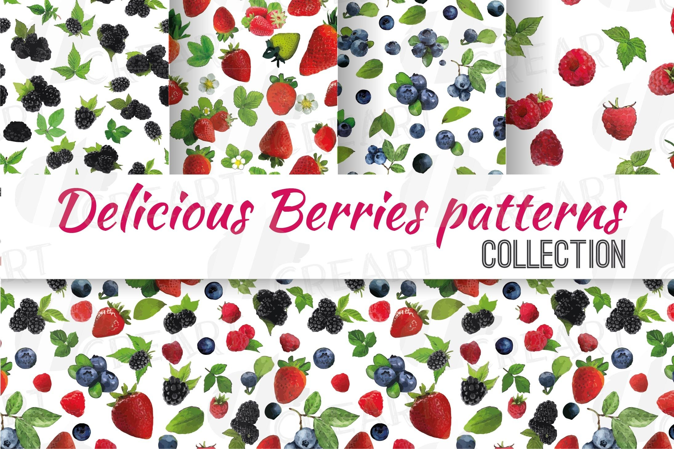 scrapbooking wild berries patterns blueberry and flowers bouquets SEAMLESS Watercolor Blueberries digital Paper Pack background