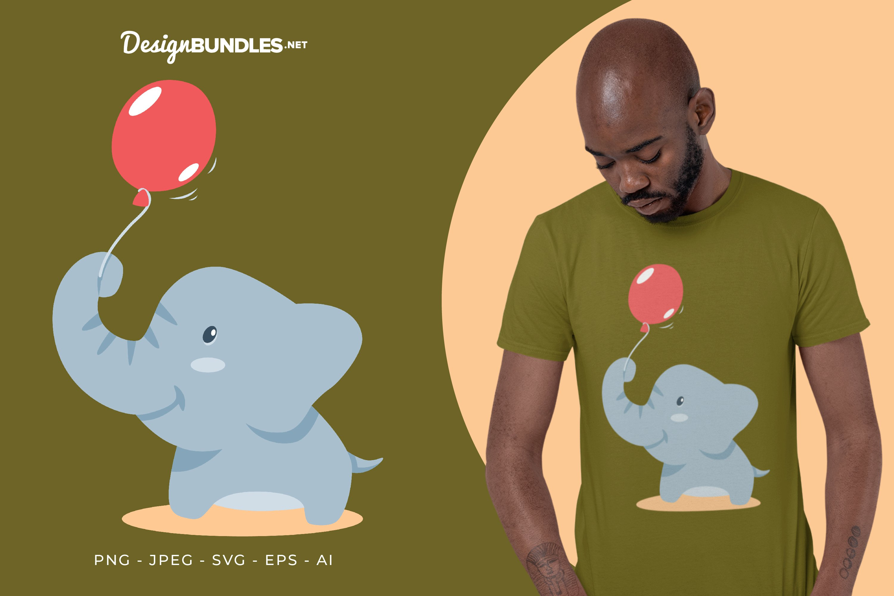 Elephant and Red Balloon Vector Illustration For T-Shirt example image 1
