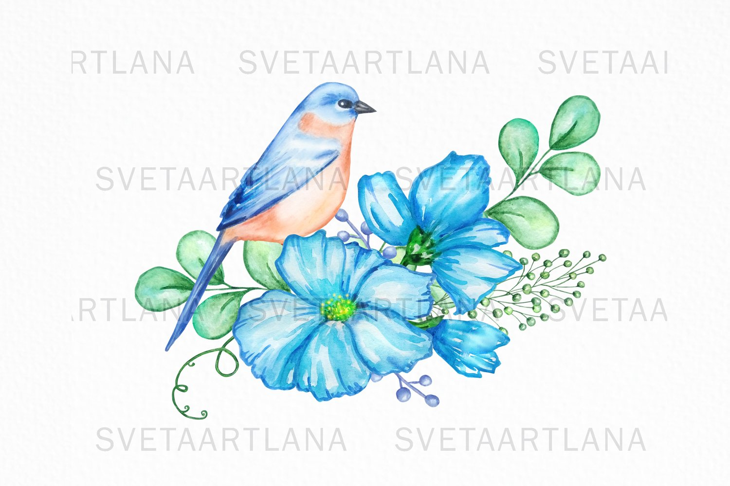 Bird and Flowers Peony Watercolor Clipart example image 4