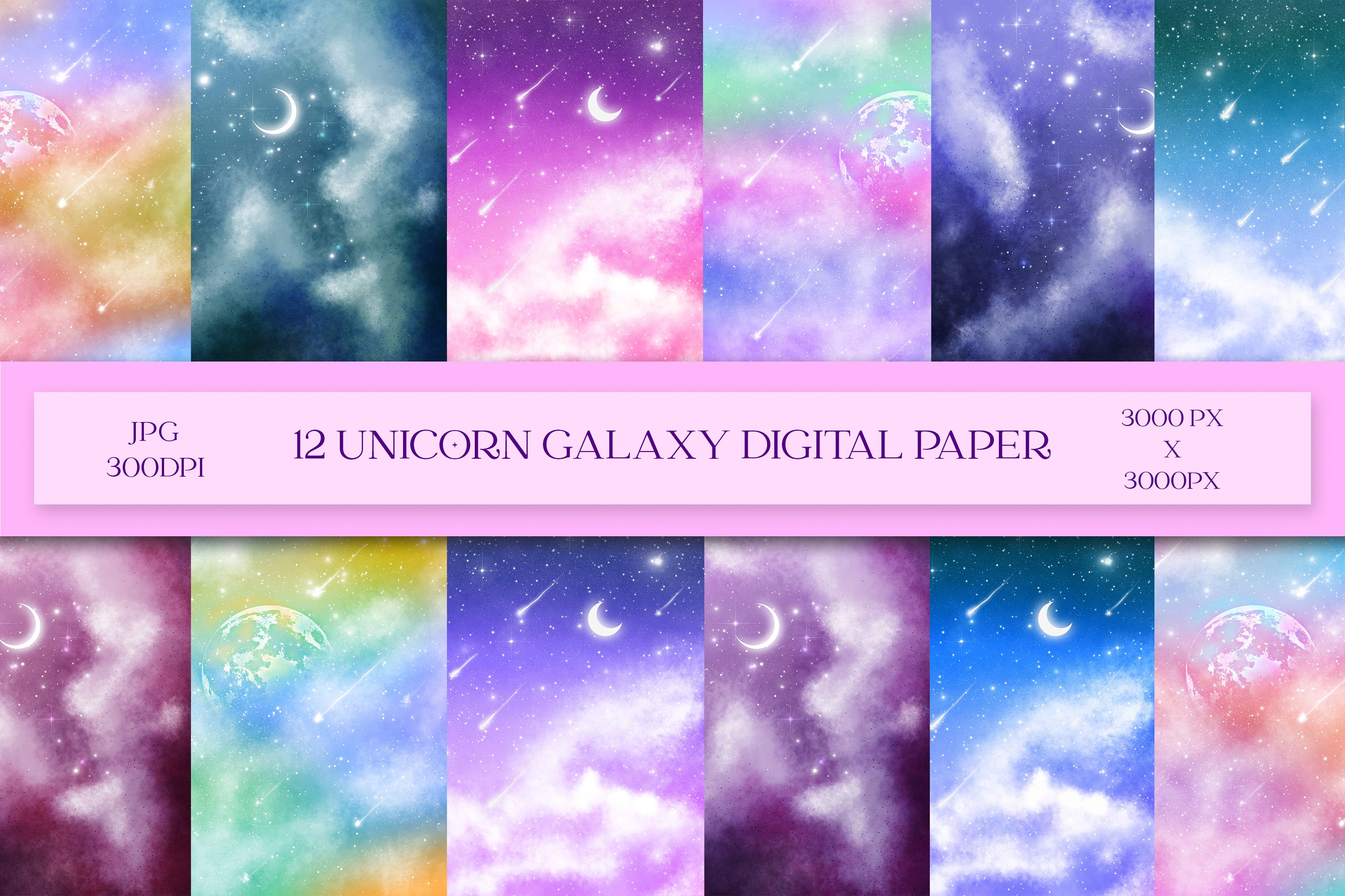 24 Pages Galaxy-Themed Patterned Paper Pack 6/×6 Single Side Pattern Printed Cardstock Photo Backgrounds Decorative Decoupage Collage Art Paper for Kids//Adults YARUMI Starry Sky Scrapbook Paper