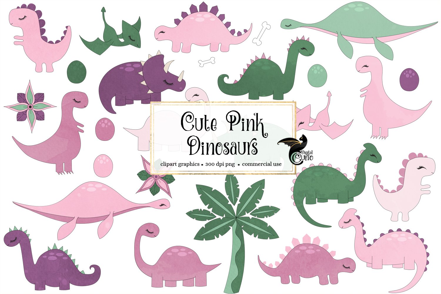 Cute Pink Dinosaurs Clip Art example image 1
