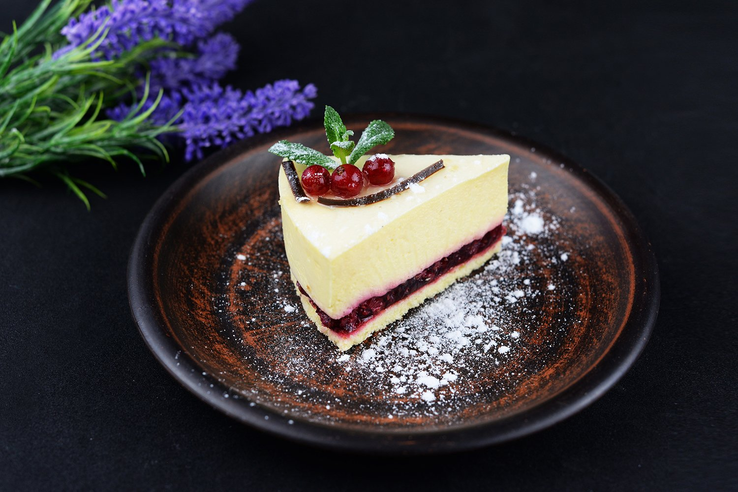 dessert cheesecake with mint and berries example image 1