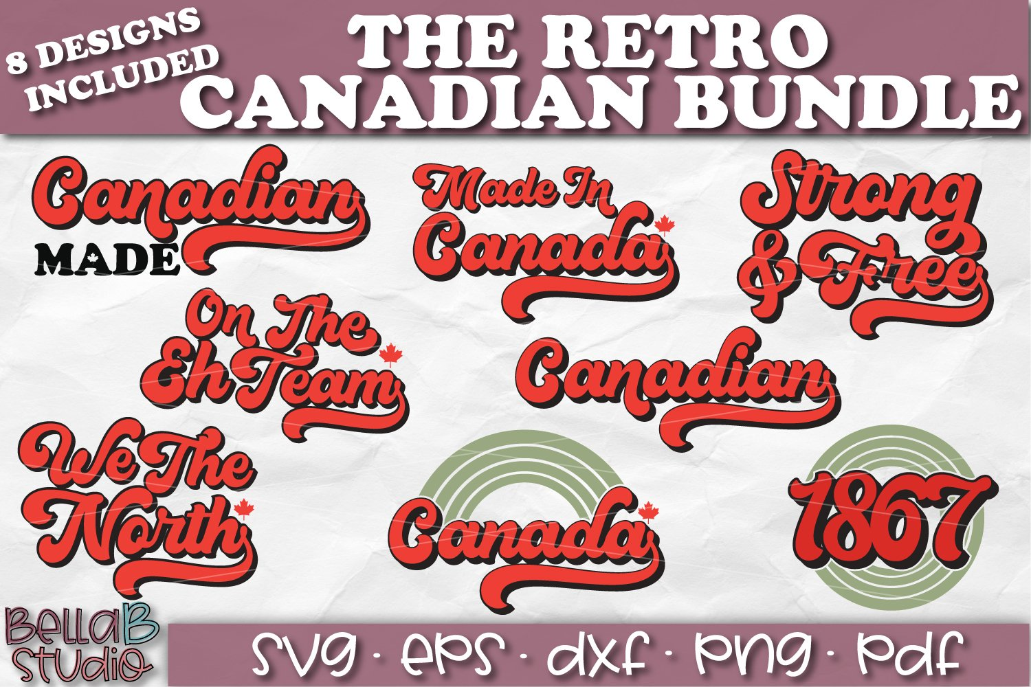 Canadian SVG Bundle, Retro Canada SVG Bundle example image 1