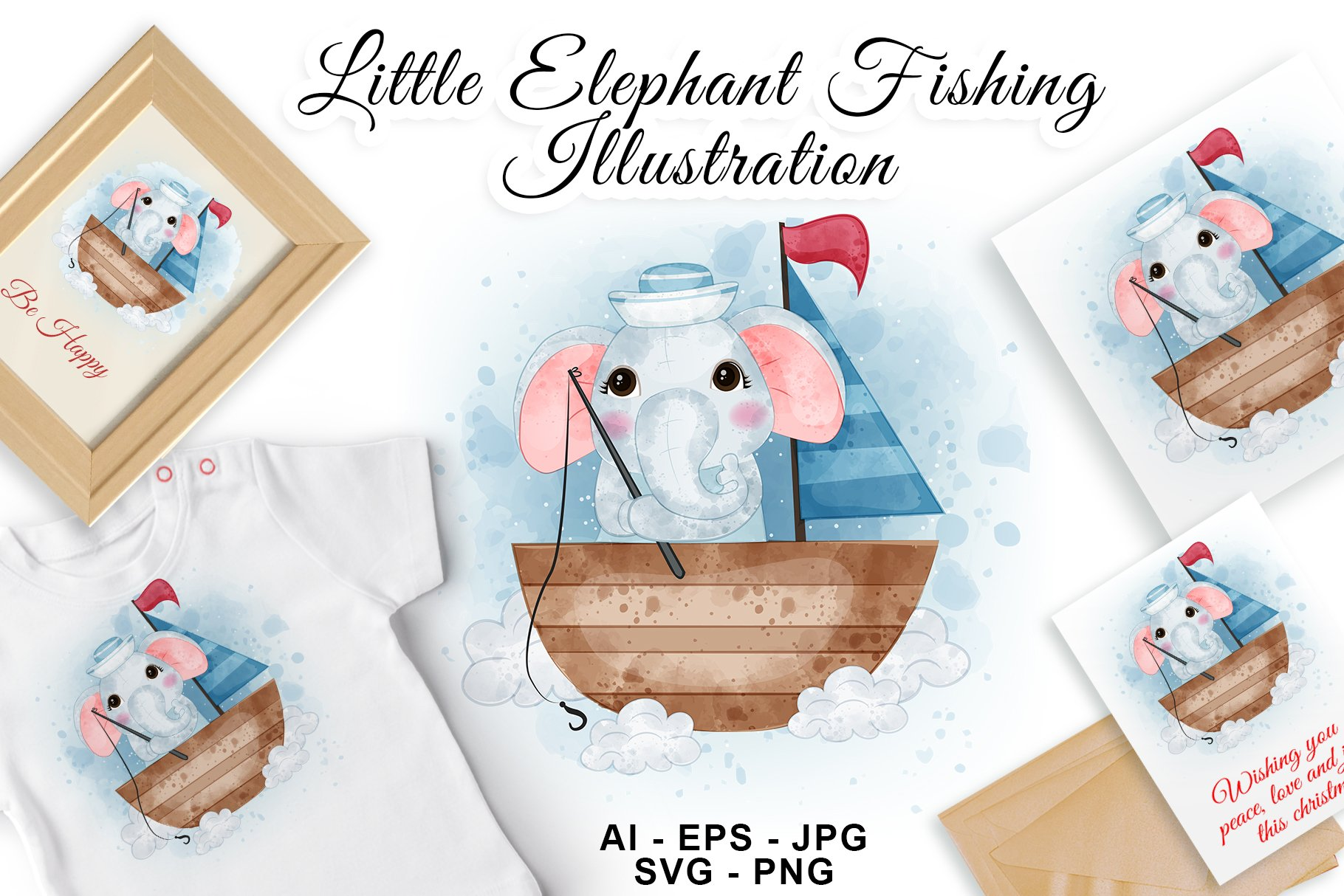 Little elephant fishing on the boat watercolor illustration example image 1