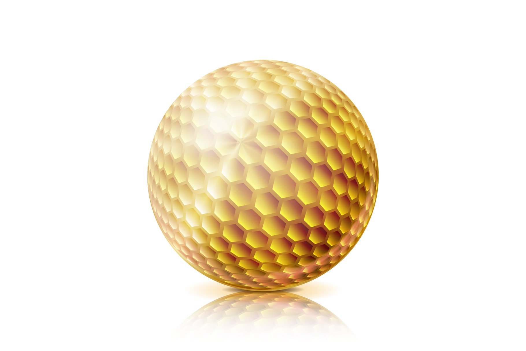 Gold Golf Ball. 3D Realistic Vector Illustration. Isolated example image 1