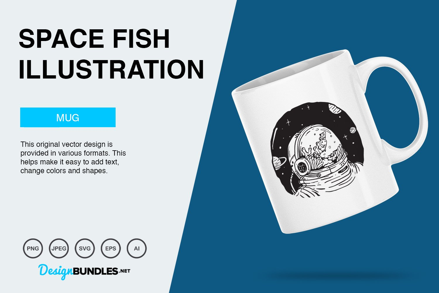 Space Fish Vector Illustration example image 4