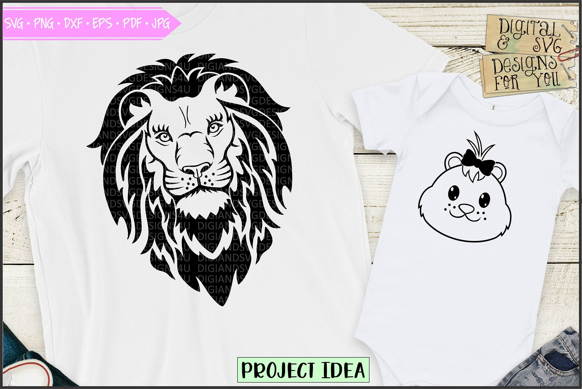 Lion and lion cub - Dad and daughter shirt design example image 1