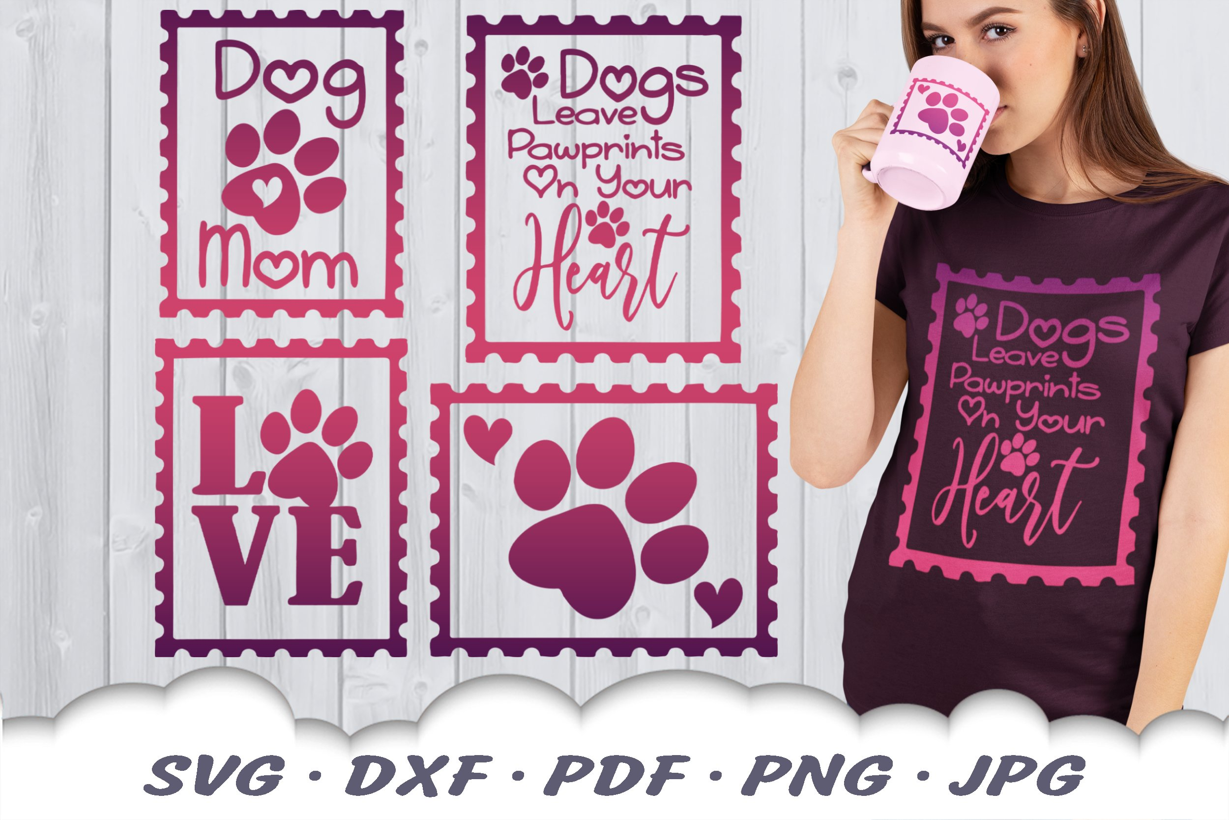 Dog Mom Postage Stamps SVG Bundle DXF Cut Files example image 1