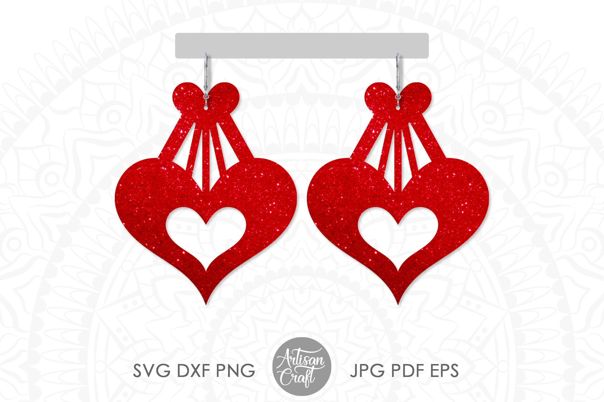 Heart earrings, SVG cutting files, faux leather earrings example image 1