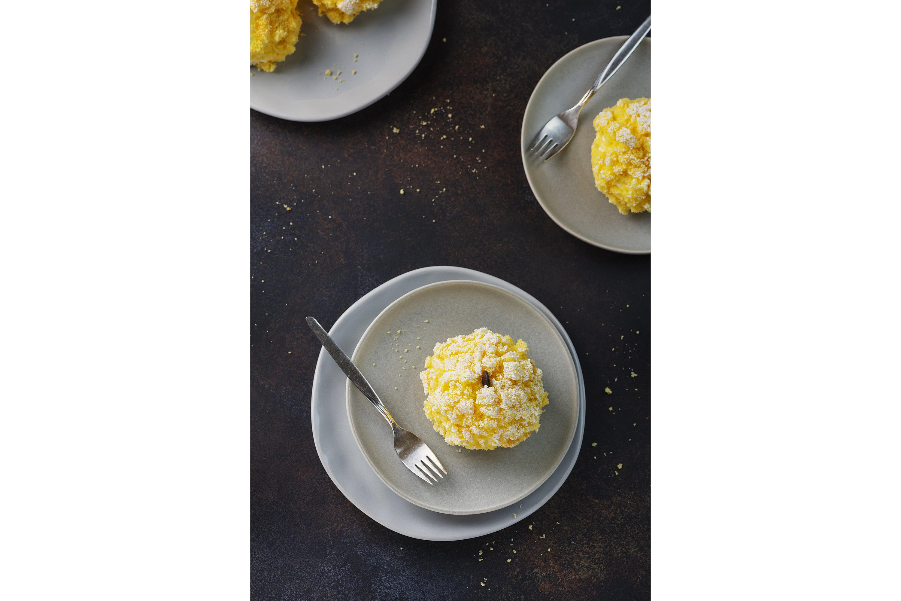 Traditional italian cake mimosa on the black background example image 1