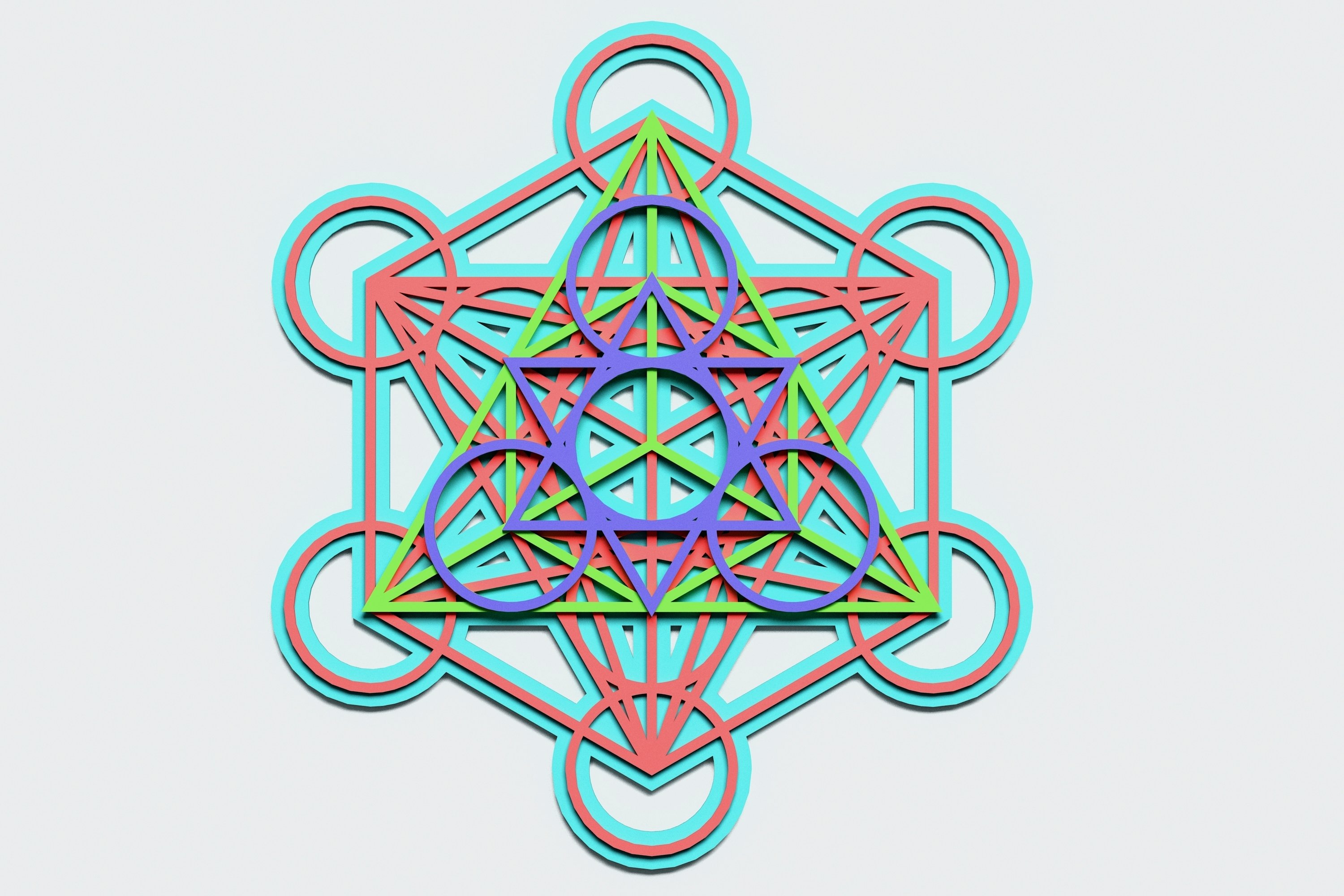 Metatron's Cube Multilayer Mandala, Vector file for cutting example image 2