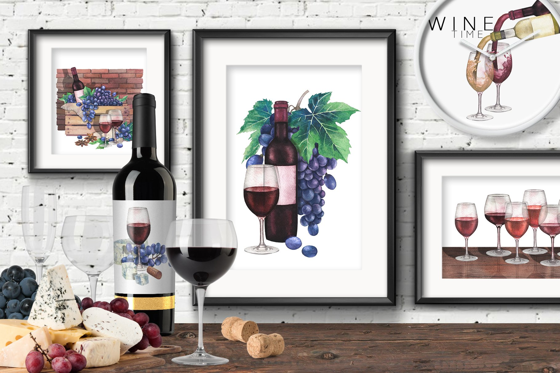 Watercolor Wine collection example image 4