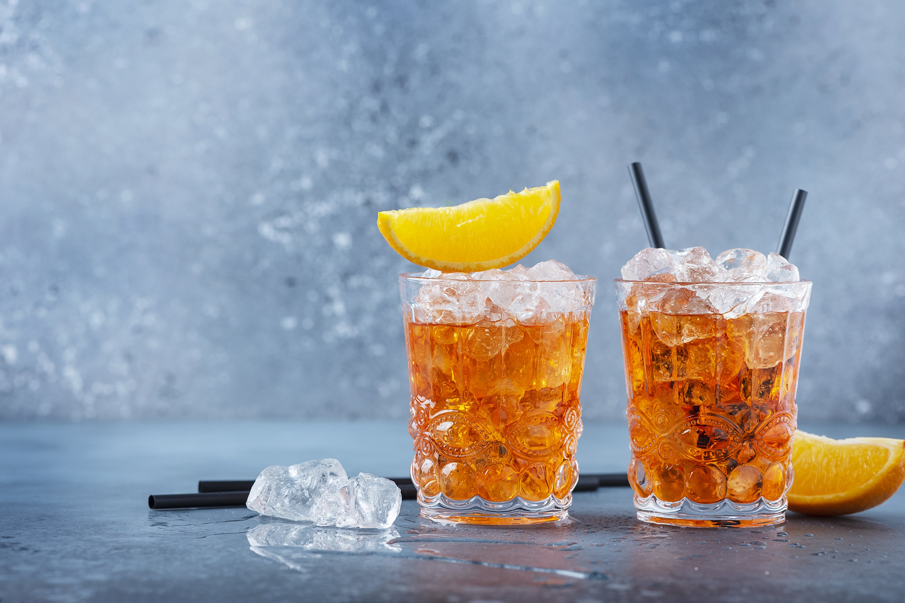 Two glasses of a traitional Italian cocktail aperrol spritz example image 1