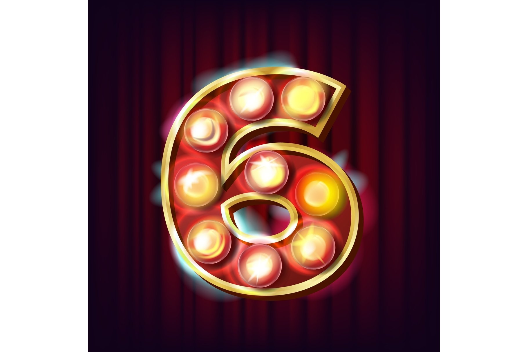 6 Number Vector. Six Font Marquee Light Sign. Realistic example image 1