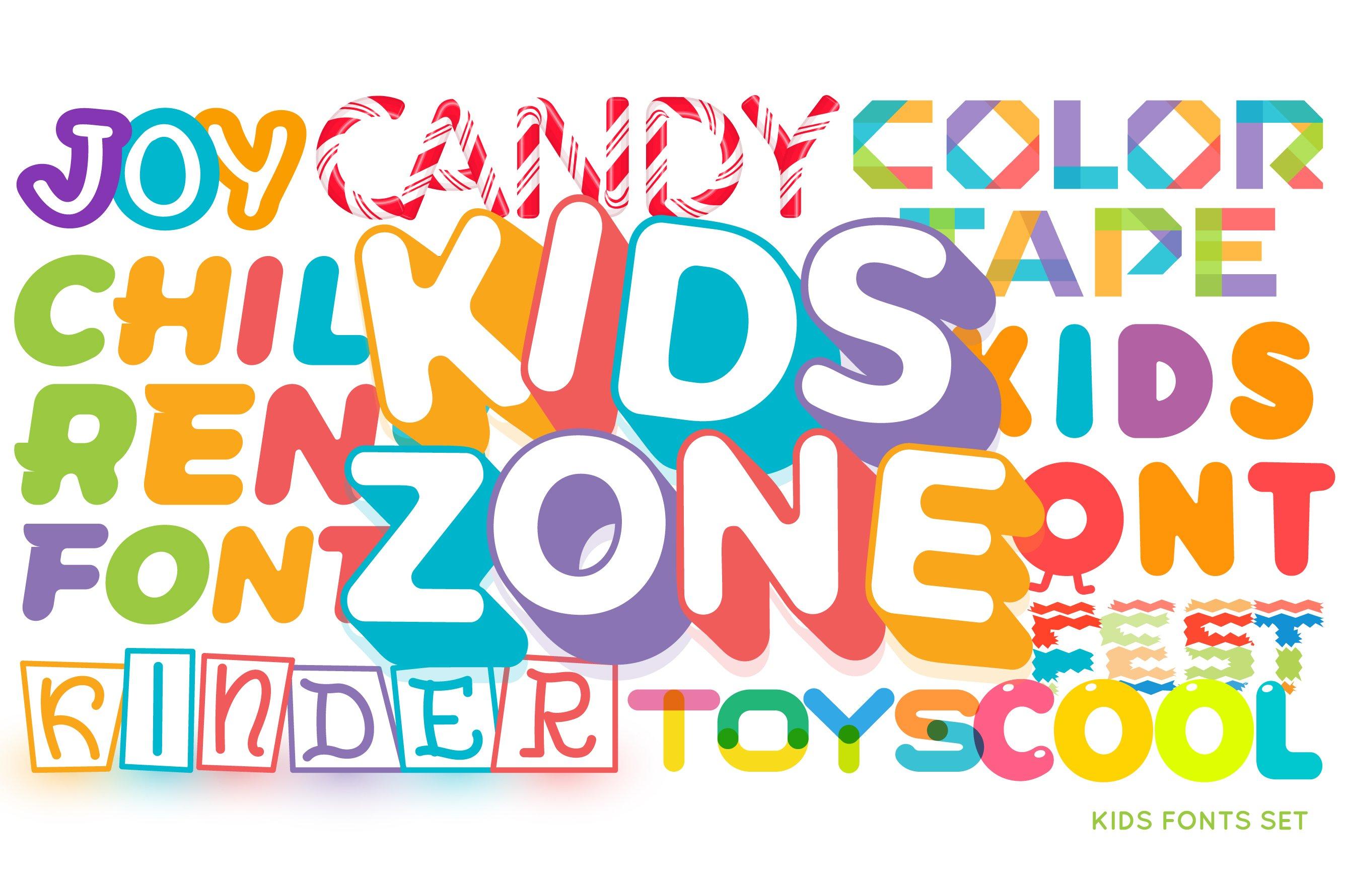 Download Kids Fonts Set 1051911 Web Fonts Font Bundles