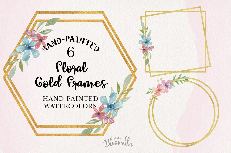 Flroal Gold 6 Frames Watercolor Flower Wedding Watercolor example image 1
